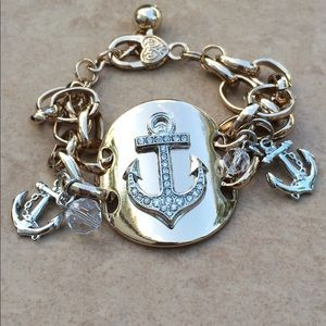 Jewelry - Two Tone Crystal Beach Anchor Crystal Bracelet